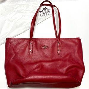 Coach Red Leather Large Shoulder Bag